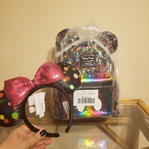 Disney Loungefly Rainbow Backpack & Polka Dot Ears